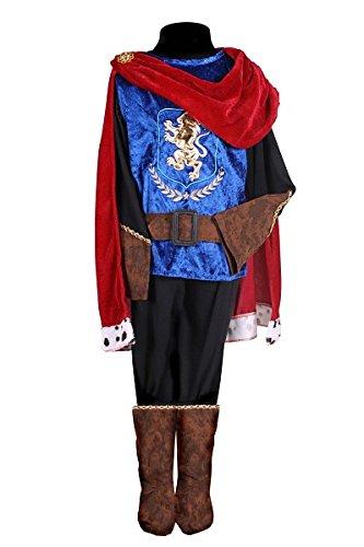 stüm Prinz Deluxe Jungen Blau Rot 4-Teilig Jacke Gürtel Hose Cape Stiefel Komplettkostüm Mittelalter Fantasy Märchen Kinderkostüm Kostüm Kinder Kind Karneval Fasching Verkleidung Rot 92 (Deluxe Märchen Kostüme)