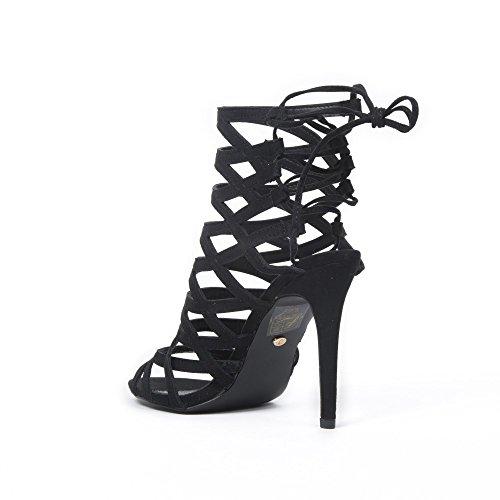 Ideal Shoes Sandales multibrides Effet Daim Jaina Noir