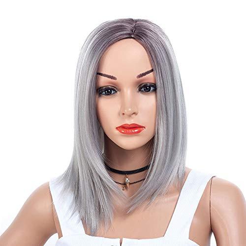 LXFENG Perücken Haar Für Frauen, Mittellange Glattes Haar Perücke Kopfbedeckung Mode Realistische Synthetische Perücke Weibliche Rollenspiel Party Täglichen Gebrauch 15 Zoll / 38 cm (Color : B)