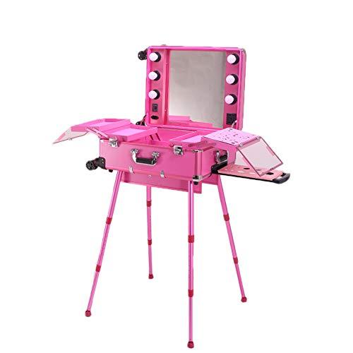 Kosmetik-Trolley Case Beauty Travel Train Case Mit LED Light/Support/Socket/Mirror Rolling Makeup...