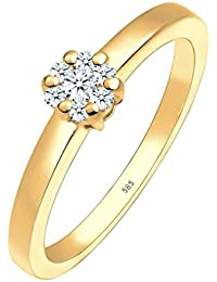 Diamore Damen-Ring Blume Verlobung Diamant 0,15 Karat 585