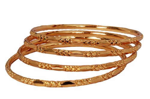 Dasara deepavali gift -Plain gold plated 4 bangles for women n girls JB524XXX