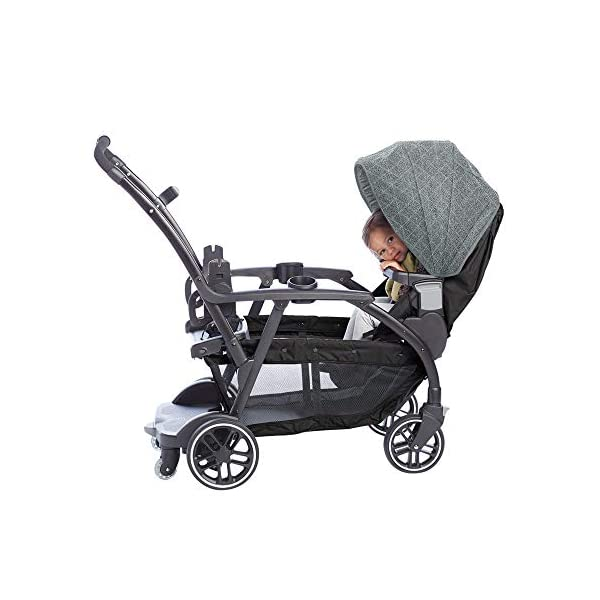 Graco Modes Duo Tandem Pushchair, Shift Graco 27 riding options for 2 children from infant to toddler; click connect attaches with all graco snug ride/essentials infant car seats. suitable from birth to 13kg (approx. 3 years) Two removable, multi-position reclining seats can be positioned rear or forward facing; the built-in bench seat gives your big kid a place to rest; both front and rear seats hold up to 15kgs One-hand standing fold, folds with seats on or off; locking front swivel wheels for superior manoeuvrability; one-step brakes make stopping, and going again, quick and easy 14