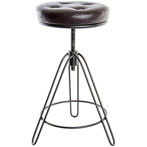 indhouse–Stile industriale Sgabello per decorazione in stile vintage in metallo e seduta imbottita Velva