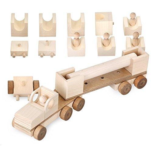 multi mobil Holzlaster XL Spielzeug Bausatz 100 Fahrzeug Variationen aus 31 Holzelementen Auto Transporter LKW Holz Laster Premium Holzspielzeug für Junge und Mädchen, Made in Germany (natur / wood)
