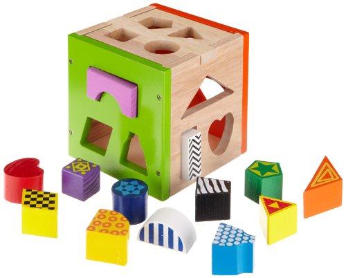 Eichhorn 100002224 - Gioco a incastro in legno colorato, compresi 14 mattoncini, 14,5x14,5x15 cm