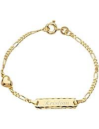 Schmuck-Pur 333/- Gold Baby-ID-Armband Herz mit Gravur 12 cm / 14 cm einstellbar