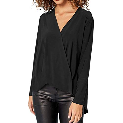 JUTOO Mode Damen Chiffon Solid T-Shirt Büro Damen V-Ausschnitt Langarm Bluse Top(Schwarz,EU:40/CN:S)