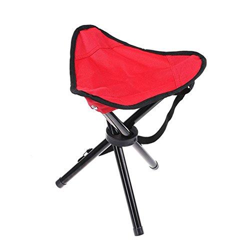 Wskderliner taburete plegable portátil ligero Camping pesca senderismo triángulo silla bolsillo lienzo trípode con 3 patas de hierro (rojo)