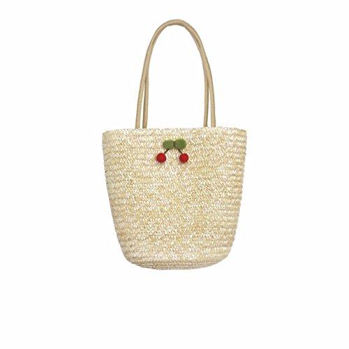 BAGEHUA tessute a mano borsa in tessuto Ladies borsetta paglia ciliegio borsa da spiaggia C A