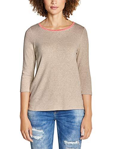 Street One Damen 314044 Cessy T-Shirt, Beige (Bisquit Melange 11851), (Herstellergröße:42)