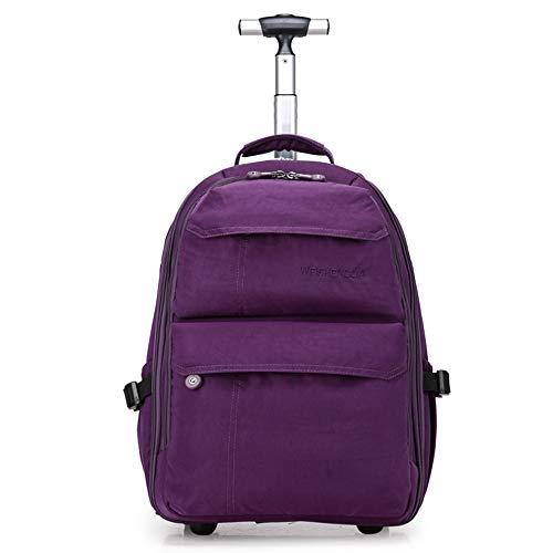 21-Zoll-Trolley-Rucksack Wasserdichter Rollrucksack auf Rädern für Männer und Frauen Business Laptop Travel Backpack Bag,Purple