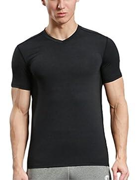Camiseta De Hombre MHSXN Casual Deportes Con Cuello En V De Manga Corta Autocultivo Ropa Deportiva Ropa De Entrenamiento...
