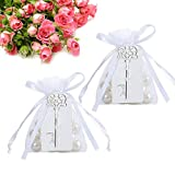 Amajoy 50 Stück Flaschenöffner mit weißem Anhänger/Schleifenband/Kordelzug als Gastgeschenk für Hochzeiten und Geburtstage