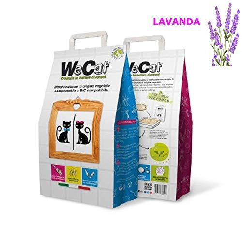 WE CAT LETTIERA Naturale VEGETALE COMPOSTABILE per Gatti AGGLOMERANTE, IGIENIZZANTE Lavanda 3/6/8 Sacchi da 6 Litri (3 Sacchi)