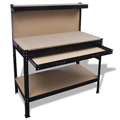 vidaXL Werkbank mit Lochwand Schublade Werktisch Arbeitstisch Arbeitsplatte
