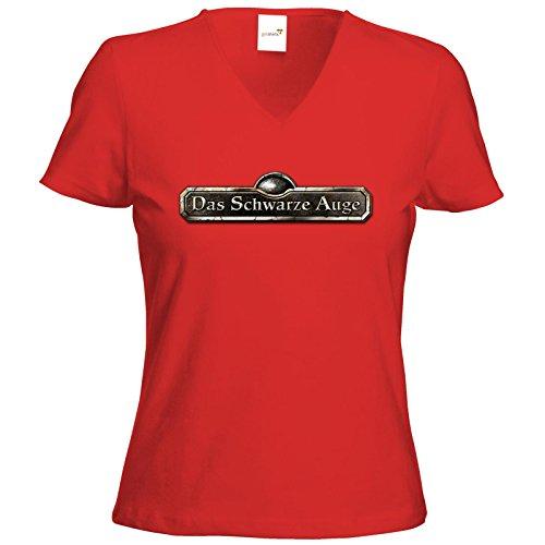 getshirts - Das Schwarze Auge - T-Shirt Damen V-Neck - Logos - Schriftzug Das Schwarze Auge Rot