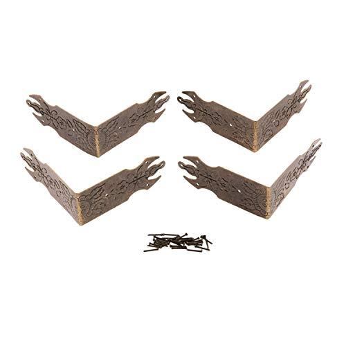 NO LOGO LT-Protector, 4Pcs 69mm antike Bronze Dekorative Schmuck-Geschenk-Kasten-hölzernen Fall Corner Schutz-Schutz-Metallarbeiten Möbelbeschläge