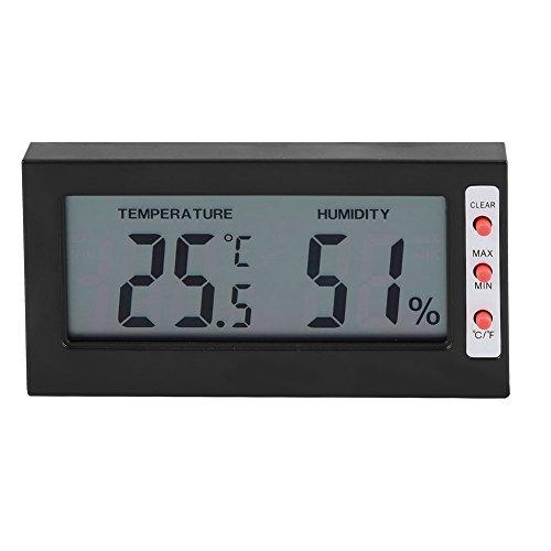 Innentemperatur- und Feuchtigkeitsmonitor, digitaler Temperatur- und Feuchtigkeitssensor Großes LCD-Display Max/Min<br/>(schwarz)