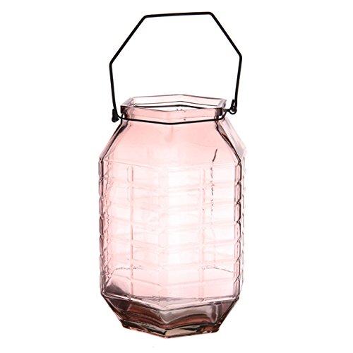 Neutro hexagonal farol con polvo rosa tamaño 19,3x 19,3x 28cm vela decorativa Linternas