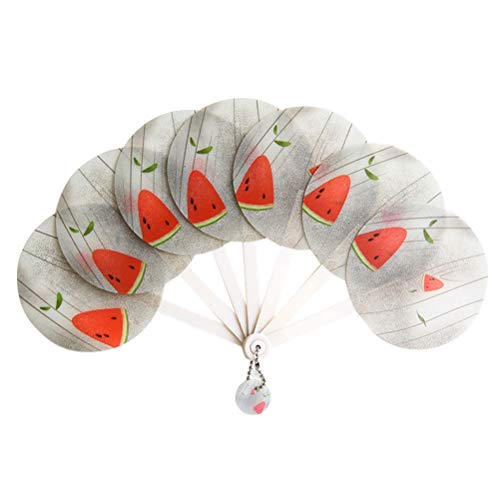 Amosfun Sommer Hängen Faltfächer Tragbarer Cartoon Mini Handventilator Handheld Decor (Wassermelone)