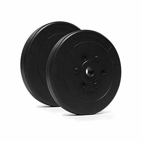 #DoYourFitness® Gewichte/Hantelscheiben ab 1,25kg bis 15kg - Lieferung stets 2X Zementgewichte - bodenfreundliche Kunststoffhanteln mit 31mm Bohrung (Lang- & Kurzhanteln bis 30/31mm) 15kg schwarz