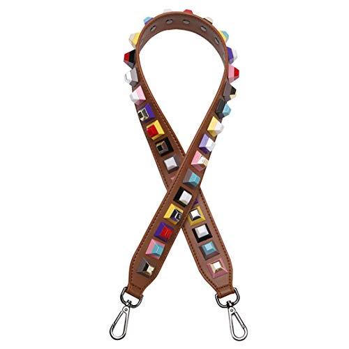 90 cm Hohe Qualität Weibliche Tasche Griffe Strap Mit Bunten Niet Echtem Leder Schultergurt Zubehör Für Handtaschen Brown-Silver Buckles -