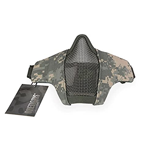 OneTigris Tactical Foldable Half Face Mask Protective Mesh Mask for Airsoft Paintball CS with Adjustable and Elastic Belt Strap (ACU)