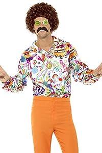 """Smiffys-44910L Camisa Buena Onda años 60, para Hombre, Multicolor, L-Tamaño 42""""-44"""" (Smiffy"""