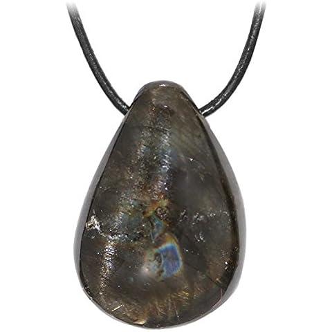 - Kaltner presenta idea regalo Lederkette per donne e signori con Tumbled pendente della pietra in Gemstone