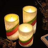 Homemory batteriebetriebene flammenlose Kerze mit Timer, 3er Set Tropfen LED Votivkerze, elektrische Kerze mit flackernder Flamme für Geschenk, Spa, Badezimmer, Tisch,(Rainbow) - 3