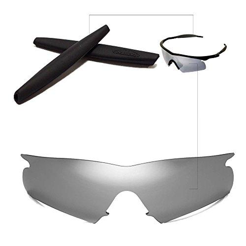 Walleva Wechselgläser Und Earsocks für Oakley M Frame Hybrid Sonnenbrille - Mehrfache Optionen (Titanium Linsen + Schwarzer Gummi)