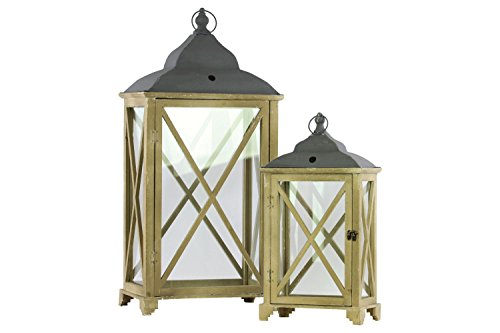 Urban Trends 46027 Wood Rectangular Lantern With Cast Iron Top, Metal Ring Handle, And Glass Sides Set Of Two Coated Finish Dark Khaki Brown