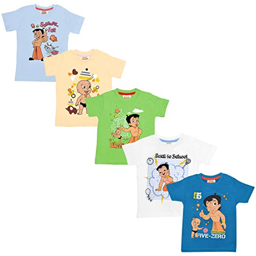 Chhota Bheem Baby Boy's Cotton T-shirt (CH092_0-3_PinkBlue_0 - 3 Months)(Pack of 5)