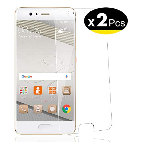 NEW'C Lot de 2, Verre Trempé pour Huawei P10, Film Protection écran - Anti Rayures - sans Bulles d'air -Ultra Résistant (0,33mm HD Ultra Transparent) Dureté 9H Glass