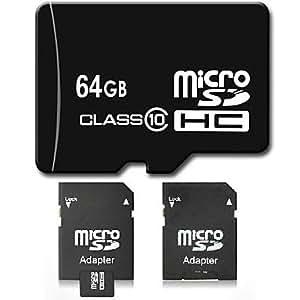 Dsb ? 64 Go Classe 10 Micro Sd Sdhc Tf Carte MéMoire Flash Avec Adaptateur Sd Haute Vitesse RéElle