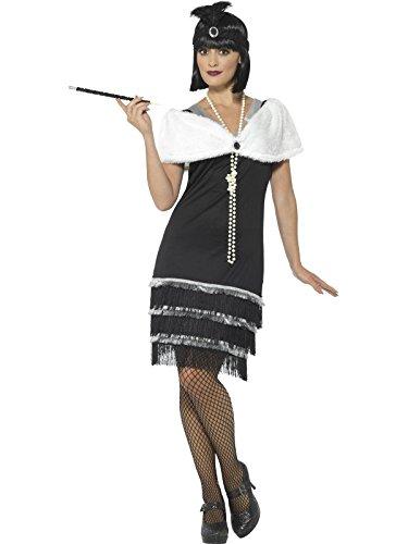 (Smiffys, Damen Flapper Kostüm, Kleid, Haarband und Fell Stola, Größe: 48-50, 43128)
