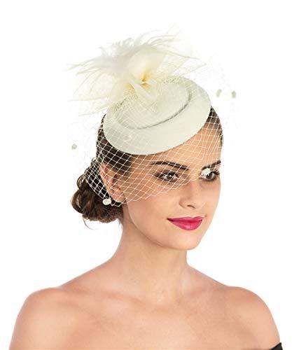 Lucky Leaf Fascinators Hut Blume Mesh Bänder Federn auf einem Stirnband und einem geteilten Clip Cocktail Tea Party Hochzeit Kirche Headwear für Mädchen und Frauen Braut (6-Champagner) (Stirnband Champagner)