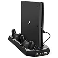 PECHAM Stand vertical para PS4/PS4 Slim con ventilación dual, estación de carga de mandos y 3 puertos USB