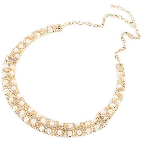 Tono oro, incastonati diamante & perla sintetica