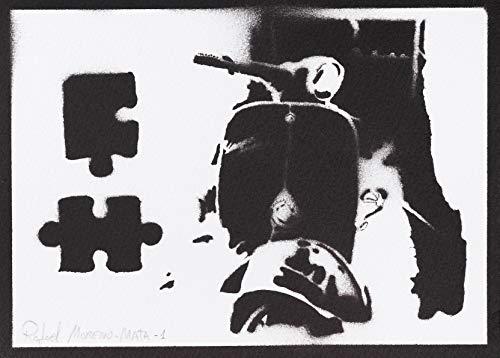 Scooter Vespa Poster Plakat Handmade Graffiti Street Art - Artwork
