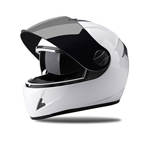CXQBYNN Fahrradhelm, elektrischer Motorrad-Motorradhelm Herren-Vier-Jahreszeiten-Universal-Integralhelm Doppelspiegel-Vollvisierhelm Warmer Anti-Fog-Vollhelm (Color :...