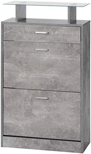 ts-ideen Schuhschrank Betonoptik Grau Hochglanz Schuhregal Schuhkipper Flur Diele Holz mit Schublade und Ablage Glas 104 x 63 cm