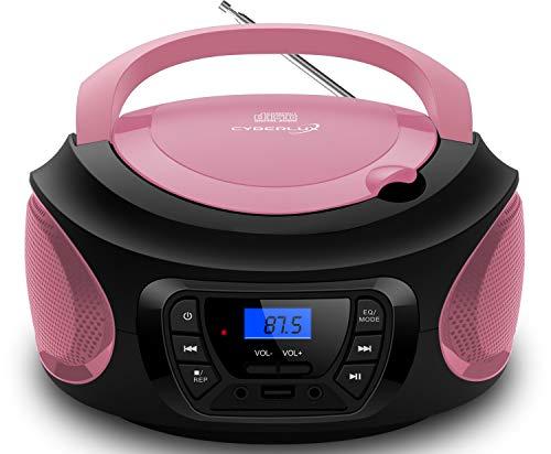 Tragbarer CD-Player | | CD/CD-R | USB | FM Radio | AUX-In | Kopfhöreranschluss | Kinder Radio | Boombox | CD-Radio | Stereoanlage | Kompaktanlage (Pretty Pink)