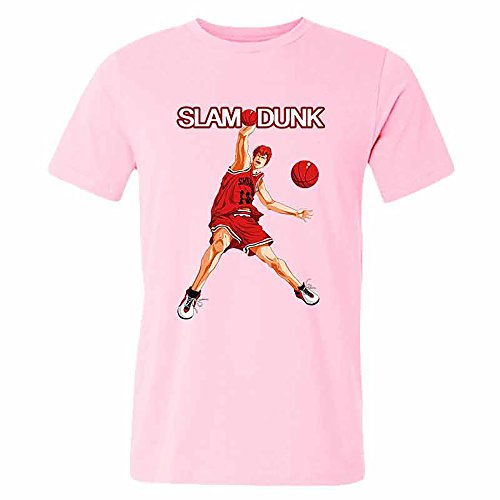 SLAM DUNK -Handsome basketball master Sakuragi Hanamichi pink T-shirt for men-XL