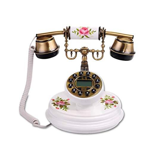 GONGFF Telefon - Neue europäische antike Vintage Holz rustikale Telefon Anrufer ID Mode kreative Festnetz Willkommen (Farbe: weiß) - Antik-weiß, Rustikales Holz