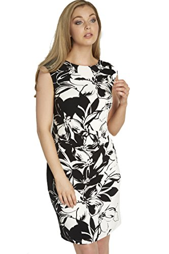 Roman Originals Femme Robe Motif à Fleurs Monochrome Tailles 38-50 Noir Noir