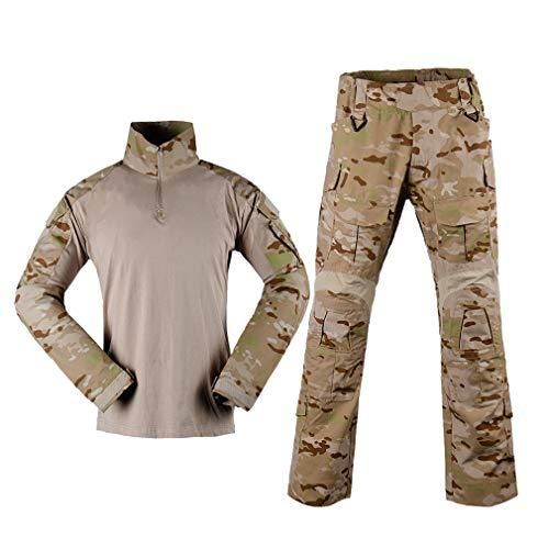 Kostüm Marine Kampf Kinder - YILIFA Militärische realistische Uniform Armee Kostüm Camo Tactical Suit - Langarm Jacke Shirt + Pants,XL