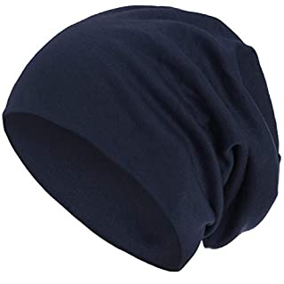 style3 Warme Herbst Winter Slouch Beanie XXL aus atmungsaktivem, feinem und leichten Jersey Unisex Mütze Wintermütze Einheitsgröße, Farbe:Marineblau