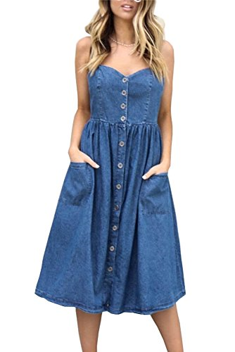 Miss Floral Womens Denim Look Button Through A-Line Strappy Midi Dress Size 6-16